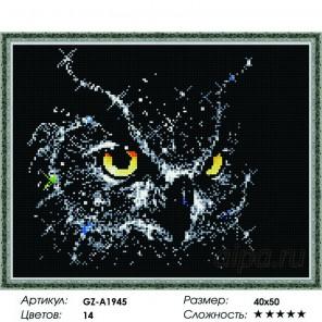 Сложность и количество цветов  Портрет совы Алмазная мозаика вышивка на подрамнике GZ-A1945