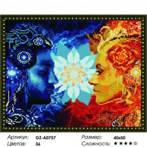 Сложность и количество цветов  Инь-Янь Алмазная мозаика вышивка на подрамнике GZ-A0757