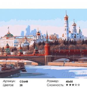 Панорама Москвы Раскраска по номерам на холсте Color Kit