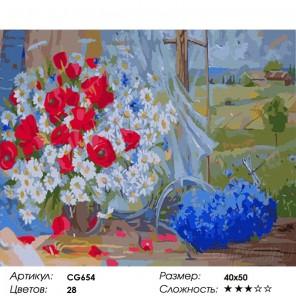 Сложность и количество красок Полевые цветы Раскраска по номерам на холсте Color Kit CG654