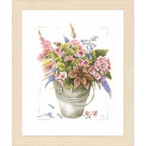 Bouquet of flowers in bucket Набор для вышивания LanArte PN-0158325