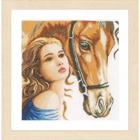 Woman and horse Набор для вышивания LanArte PN-0158324