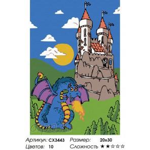 Сложность и количество красок  Сказочный дракон Раскраска по номерам на холсте CX3443