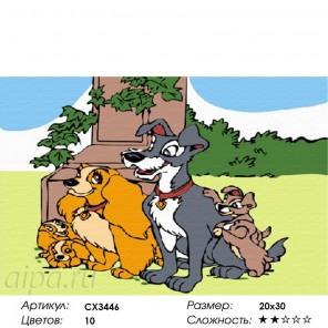 Сложность и количество красок  Дружная семья Раскраска по номерам на холсте CX3446