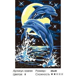 Лунные дельфины Раскраска по номерам на холсте