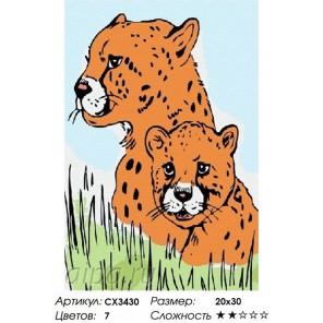 Сложность и количество цветов Леопарды Раскраска по номерам на холсте CX3430