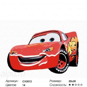 Сложность и количество красок  Весёлая машинка Раскраска по номерам на холсте CX3012