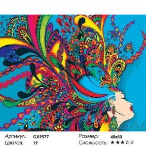 Сложность и количество красок  Девушка-абстракция Раскраска картина по номерам на холсте GX9577