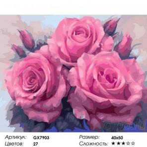 Сложность и количество красок Пышные розы Раскраска картина по номерам на холсте GX7903