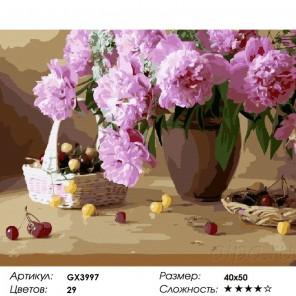 Сложность и количество цветов  Пионы и вишенки Раскраска картина по номерам на холсте GX3997