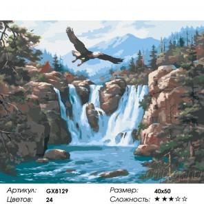 Сложность и количество красок  Парящий над водопадом (художник Сен Ким) Раскраска картина по номерам на холсте GX8129