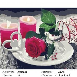 Сложность и количество красок  Роза и свечи Раскраска картина по номерам на холсте GX21054