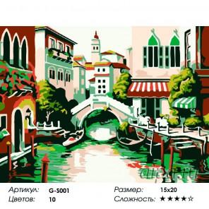 Сложность и количество красок  Старинный мостик Раскраска мини по номерам G-S001