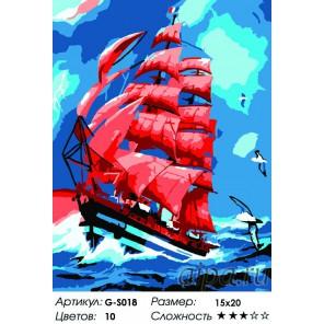 Сложность и количество красок  Алые паруса Раскраска мини по номерам G-S018