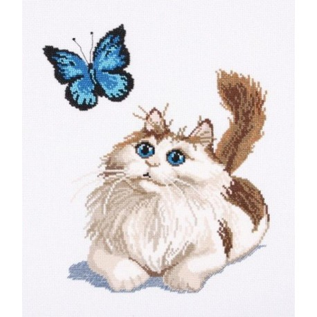 Котенок и бабочка Набор для вышивания Овен