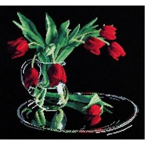 Тюльпаны на черном Набор для вышивания Овен