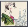 Пример оформления в рамке Парижанка №2 Набор для вышивания Овен 352