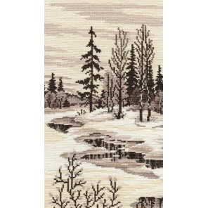 Пример оформления в рамке Весна триптих №1 Набор для вышивания Овен 503