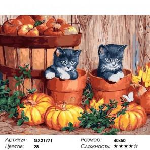 Сложность и количество красок  Котята и тыквы Раскраска картина по номерам на холсте GX21771