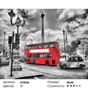 Сложность и количество красок  Красный автобус Раскраска картина по номерам на холсте GX8246