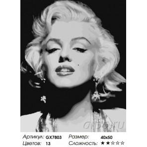 Сложность и количество красок  Великая Мэрилин Монро Раскраска картина по номерам на холсте GX7803