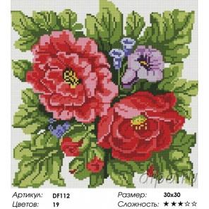 Сложность и количество цветов  Цветы Алмазная мозаика вышивка на подрамнике DF112