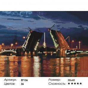 Сложность и количество цветов  Разводной мост Алмазная мозаика вышивка на подрамнике EF136