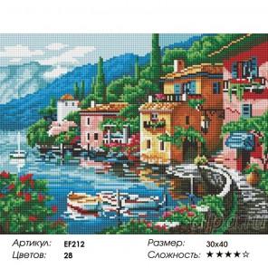 Сложность и количество цветов  Прибрежный городок Алмазная мозаика вышивка на подрамнике EF212