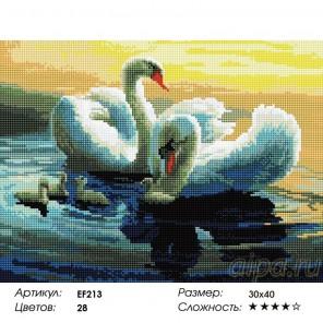 Лебединое семейство Алмазная мозаика вышивка на подрамнике