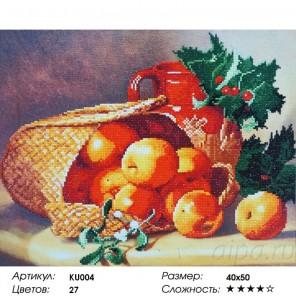 Сложность и количество цветов Лукошко с яблоками Алмазная частичная мозаика вышивка на подрамнике KU004