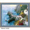 В рамке N182 Скалистый берег Греции Раскраска картина по номерам на холсте