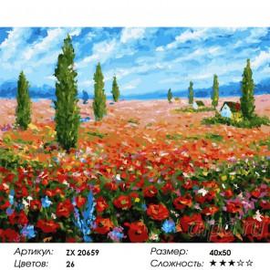 Количество цветов и сложность Домик среди маков Раскраска картина по номерам на холсте  ZX 20659