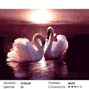 Количество цветов и сложность Лебеди на закате Раскраска картина по номерам на холсте  ZX 20668