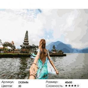 Количество цветов и сложность Бали. Следуй за мной Раскраска картина по номерам на холсте ZX 20686