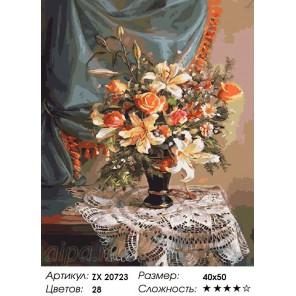 Лилии и розы Раскраска картина по номерам на холсте