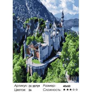 Количество цветов и сложность Замок в Баварии Раскраска картина по номерам на холсте  ZX 20731