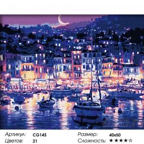 Сложность и количество красок  Ночная гавань Раскраска по номерам на холсте CG145