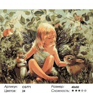 Сложность и количество красок  Лесная фея Раскраска по номерам на холсте CG771