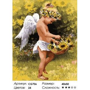 Сложность и количество красок  Ангел с подсолнухами Раскраска по номерам на холсте CG706