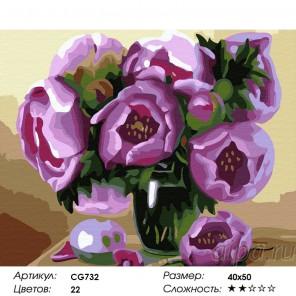 Сложность и количество красок  Натюрморт с пионами Раскраска по номерам на холсте CG732