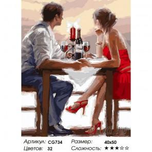 Сложность и количество красок  Романтический ужин Раскраска по номерам на холсте CG734