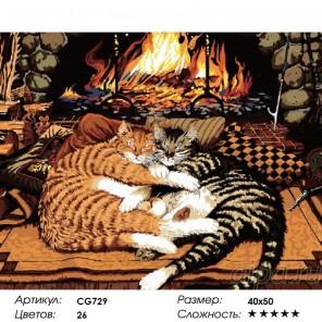 Сложность и количество красок  Кошки у камина Раскраска по номерам на холсте CG729