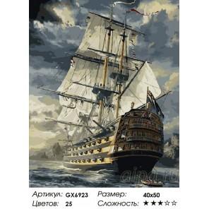 Сложность и количество красок  Корабль Раскраска по номерам на холсте GX6923