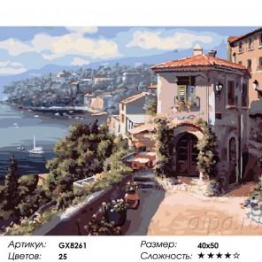 Сложность и количество цветов  На средиземном побережье Раскраска по номерам на холсте GX8261