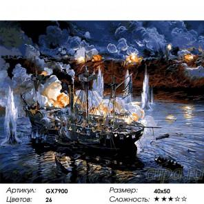 Сложность и количество цветов  Битва на море Раскраска по номерам на холсте GX7900