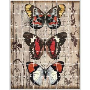 Панно из бабочек Пазл объемный с клеевым покрытием