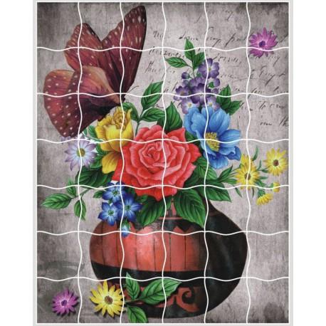 Букет цветов Пазл объемный с клеевым покрытием