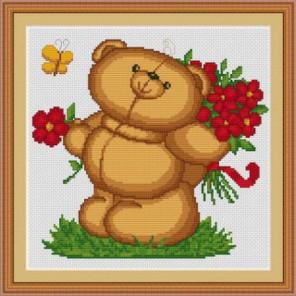Медвежонок с цветами Набор для вышивания Luca-S