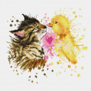 Кот с утенком Набор для вышивания Luca-S