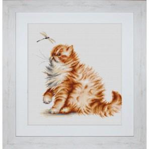 Кошка со стрекозой Набор для вышивания Luca-S